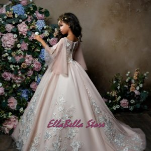 pretty blush pink chiffon umbrella style sleeves vintage lace applique ball gown flower girl dress online