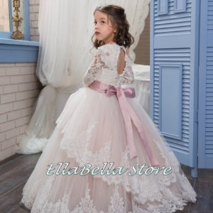 pink princess vintage style lace flower girl,girls party and formal dress