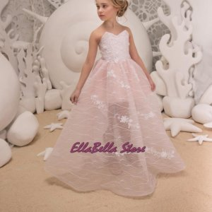 light pink strapless low back flower girl dress