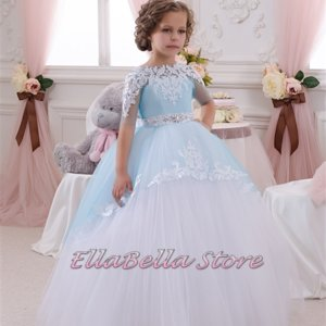 sky blue royal boutique lace flower girl ,frozen party dress,themed party dress,ball gown dress