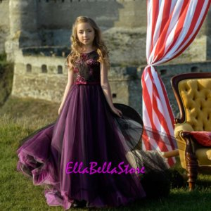 Mauve lace flower girl dress