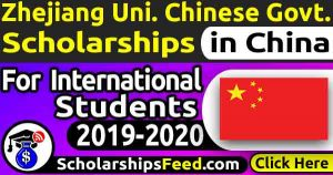 Zhejiang University Chinese Government Scholarship 2020