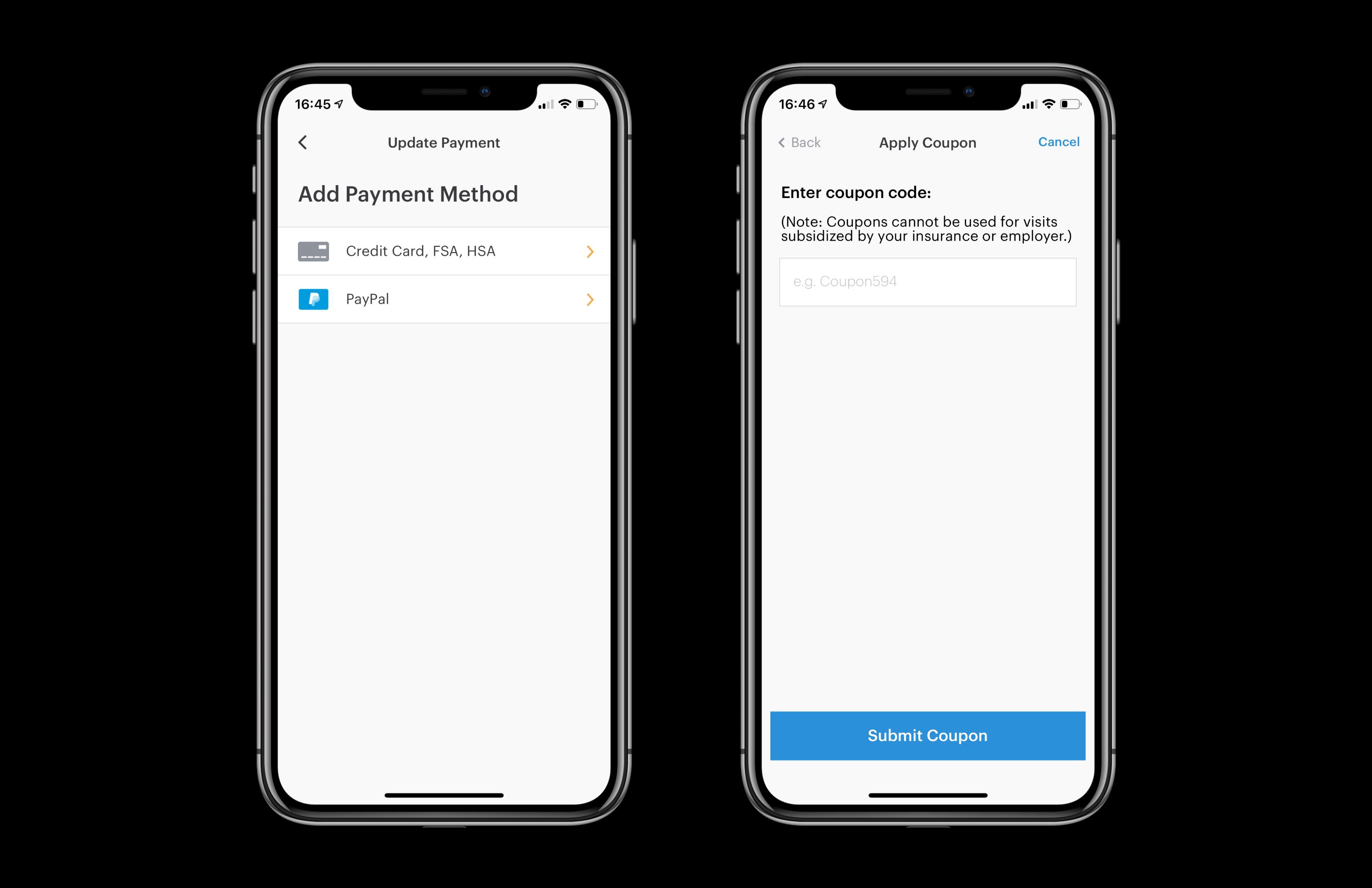 Patient's app: payment options