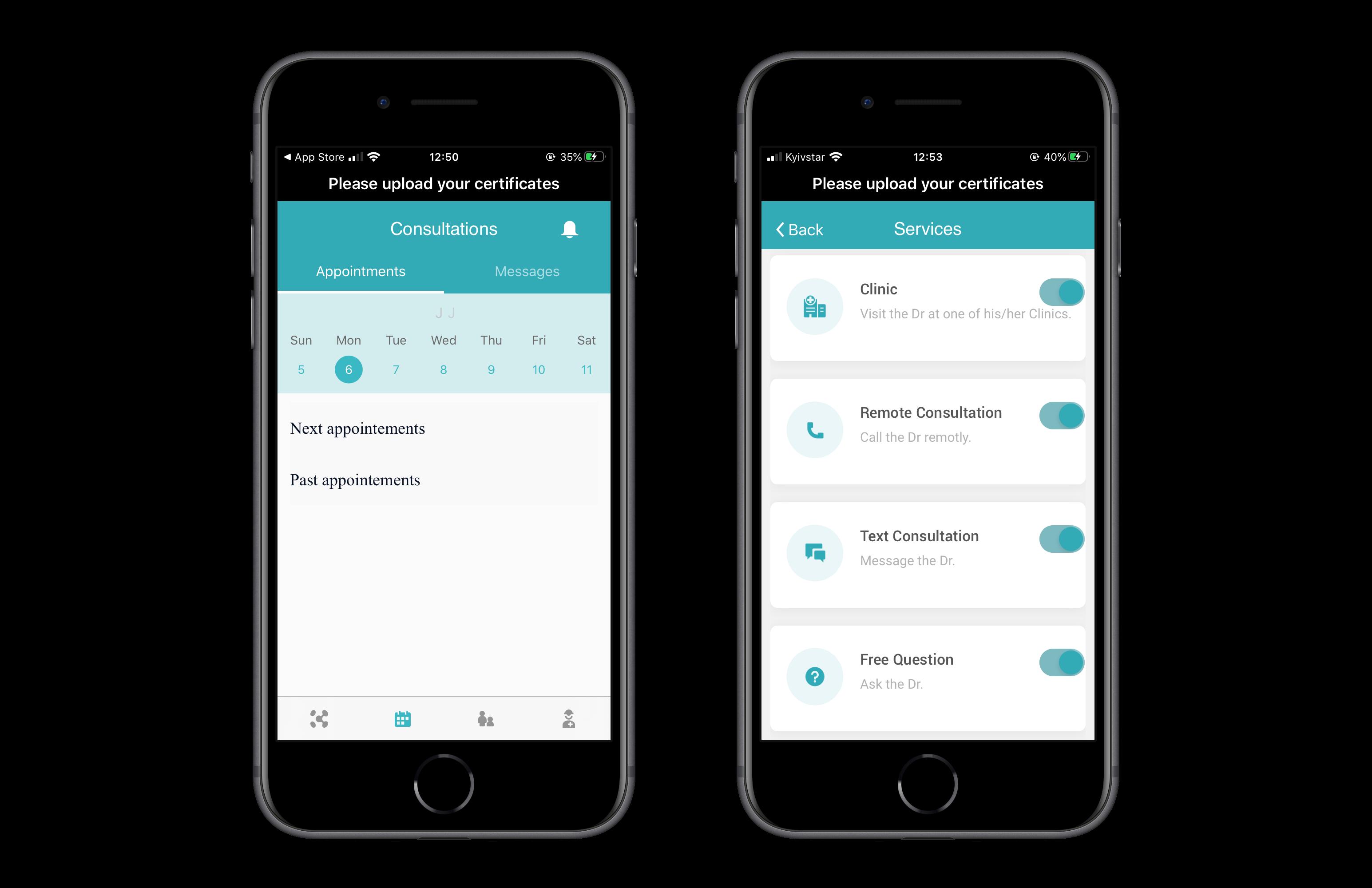 Telemedicine software/ doctor's app: scheduling
