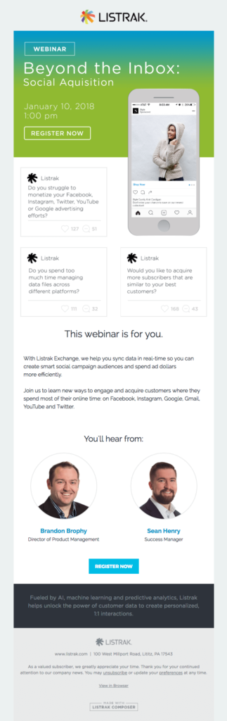 Listrak webinar invitation email design