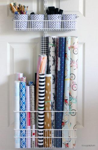 craft paper stored behind closet door organizing paperwork