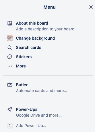 Trello Menu - showing Power-up on the list