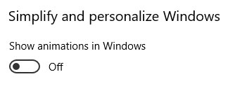 disabilitare animazioni windows