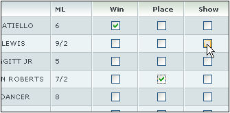 Win Place Show Sample Bet Diagram
