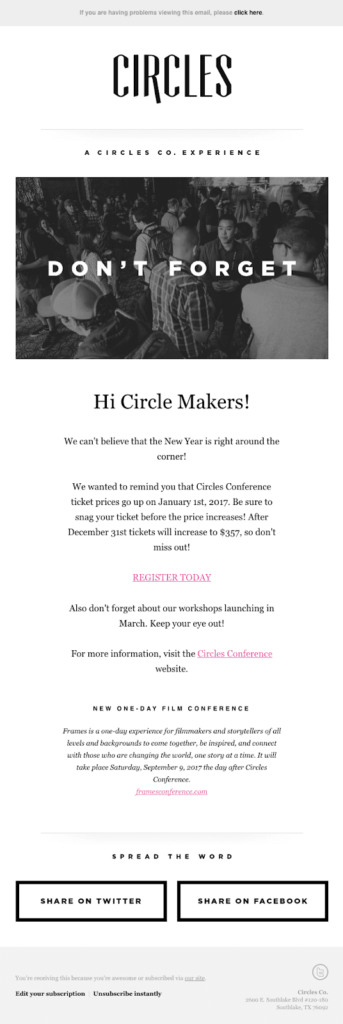 Circles event reminder message to motivate social media interactions for their event