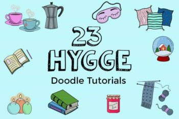 Hygge doodles with step by step instructions