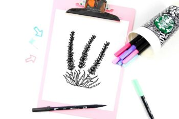 Learn how to create a botanical lavender drawing doodle, easy step by step tutorial on how to draw lavenders.