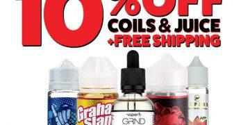 10% on ALL Coils & E-Liquids, plus Free Shipping image