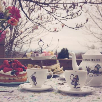 An Alice in Wonderland themed tea party using the collection of vintage tableware from Mrs Moore's vintage store for Amara