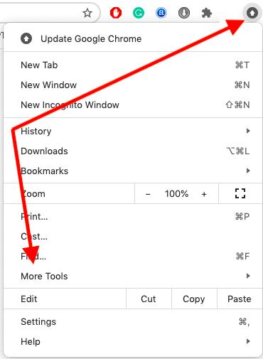 menu option of the chrome browser
