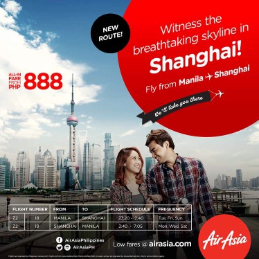 Philippines AirAsia direct flights from Manila to Shanghai