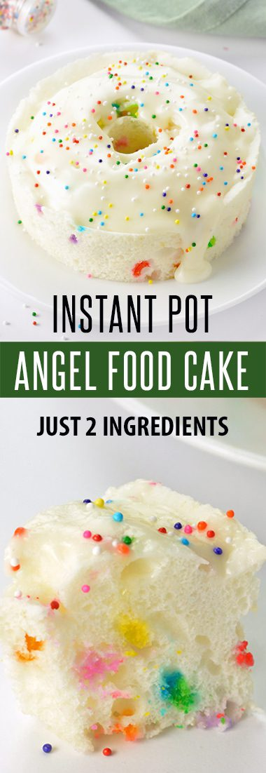 2-Ingredient Angel Food Cake Recipe for the Instant Pot! Only 10 minutes cook time. Perfect for Weight Watchers - only 5 Smart Points! This Instant Pot Dessert Recipe is light, fluffy and crazy easy to make. For more Recipes visit FoodieandWine.com | #dessertrecipes #desserts #instantpot #instantpotrecipes #weightwatchers #easyrecipes