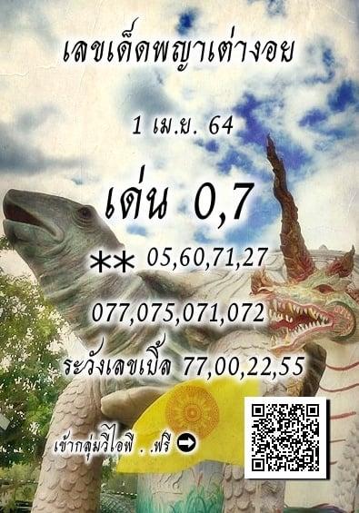 เลขเด็ดพญาเต่างอย 1/4/64