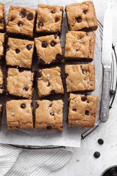 chocolate chip blondies cut into squares