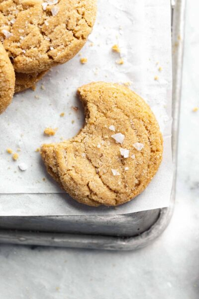 soft peanut butter cookies with a bite taken out
