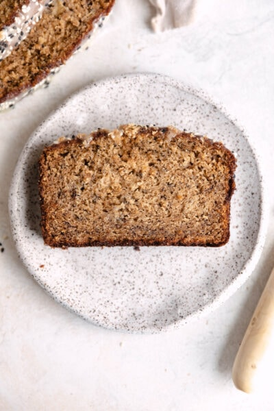 slice of moist tahini banana bread