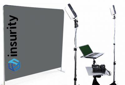Washington dc headshot photo booth customized background with client logo.