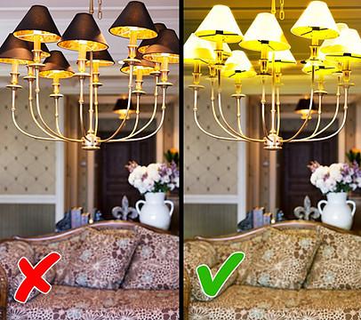 انتخاب لوستر رنگ روشن در سالن پذیرایی