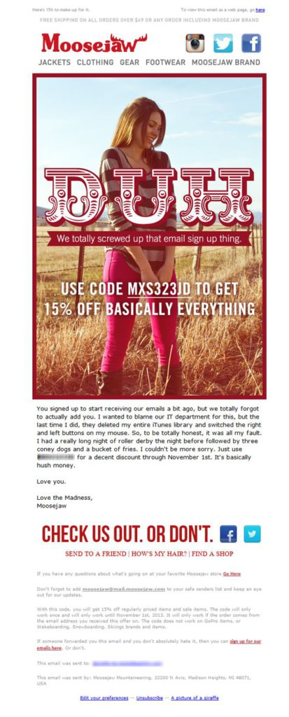 correction email Moosejaw example