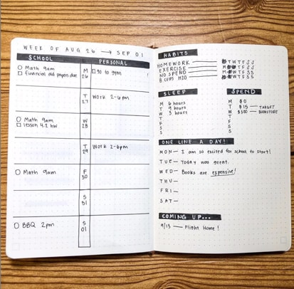 Student Weekly Layout Bujo