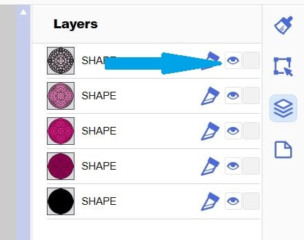 Canvas Workspace Layers panel with the layers of the 3D Mandala and the hide and unhide option.