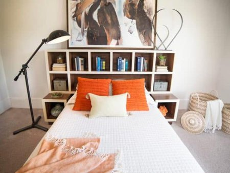 DIY headboard with storage bedroom organization ideas