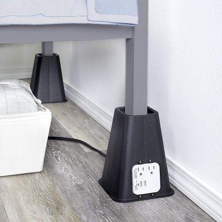 bedroom organization ideas-bed risers with outlet and usb port