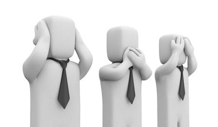 Muestra tres figuras haciendo los gestos de 'no escucho', 'no hablo' y 'no veo'