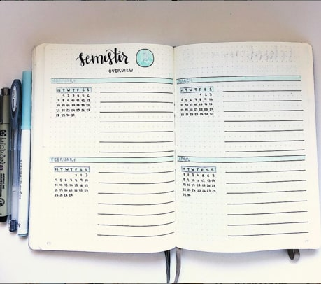 Semester Overview Bullet Journal