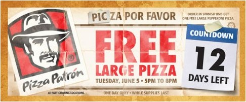 pizza marketing- Pizza Patron 12 Days Left Free Large Pizza Ad