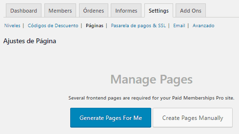 Muestra el gestor de páginas necesarias para la operación de Paid Memberships Pro