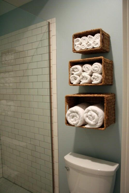 wicker basket towel storage