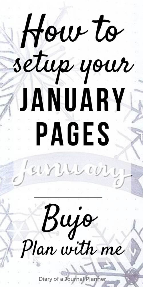 Learn how I setup my January bullet journal monthly spread and pages. Minimalist style with snowflakes doodle inspiration with a simple and easy monthly, weekly and daily calendar setup to reach your goals and start the year with your planner organization on track.