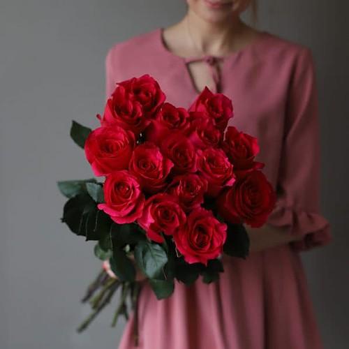 Монобукет из 15 роз (Эквадор) №1046 - Фото 33