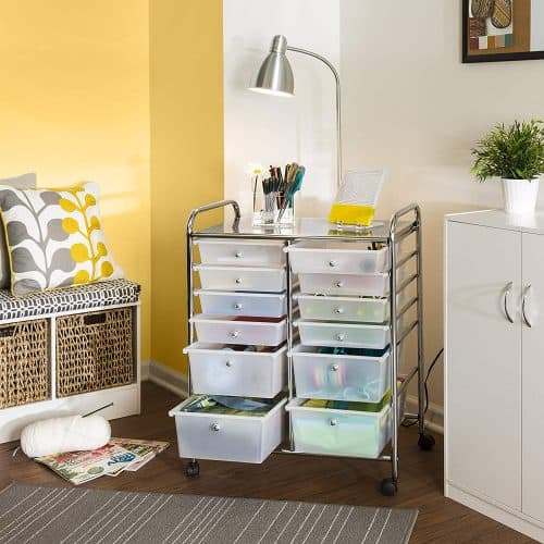 rolling storage cart with drawers | gift guide for messy people