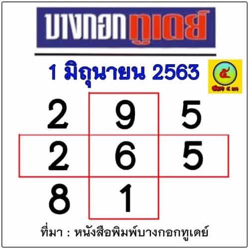 เลขเด็ด หนังสือพิมพ์บางกอกทูเดย์ 1 มิถุนายน 2563