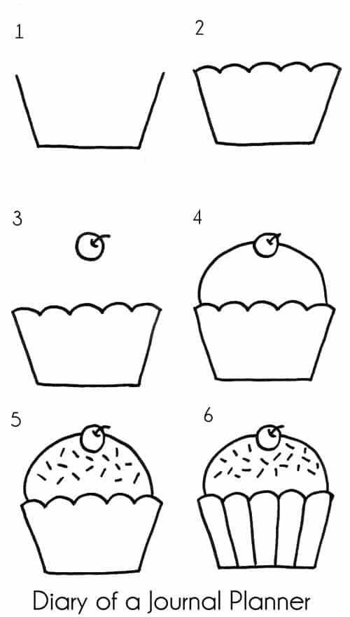 Cupcake doodles step by step instruction
