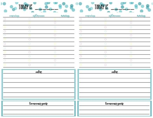 free printable daily calendar planner page
