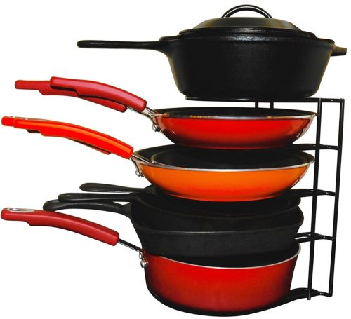 organize kitchen cabinets by stacking pans