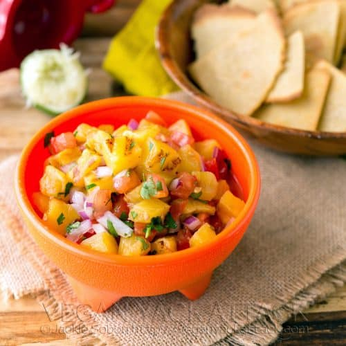 Grilled Pineapple Salsa with quinoa-corn chips