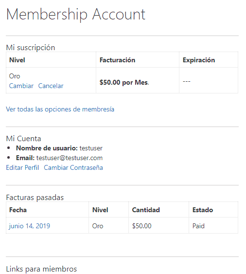 Muestra una cuenta de usuario de Paid Memberships Pro