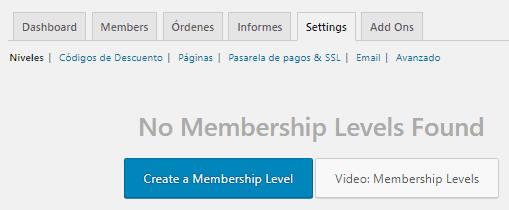 Muestra la página inicial de niveles de membresía de Paid Memberships Pro