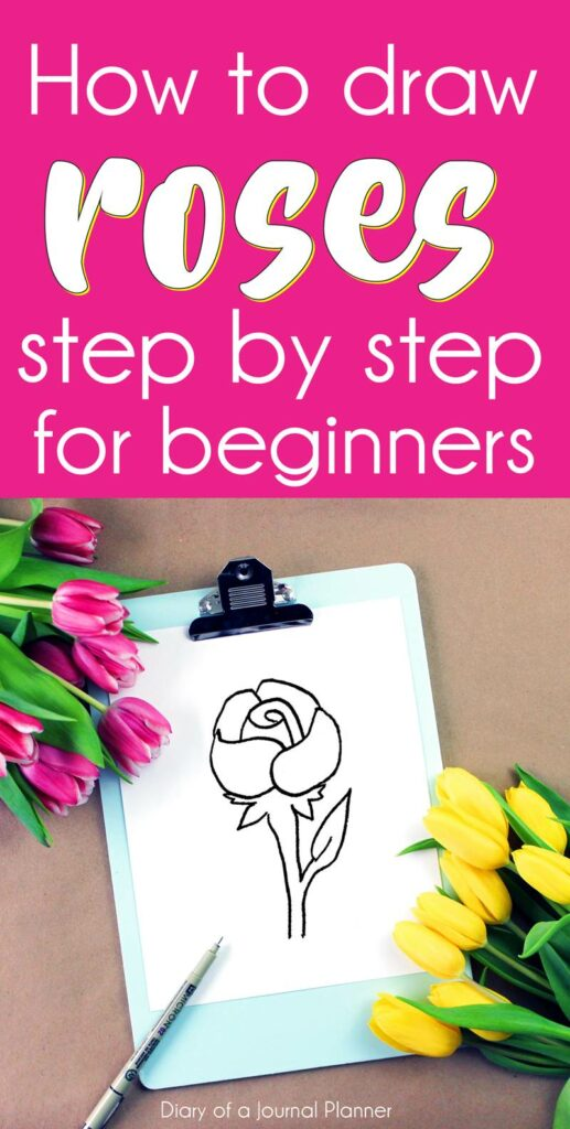 Easy how to draw a rose step by step for beginners and for kids. Learn how to doodle rose flowers with pencil outline. Perfetc for sketch book or bullet journal, and for different skills. This list of rose doodle includes realistic rose drawing tutorials, leaf and simple rose drawing easy. #doodles #doodle #flowerdrawing #doodleflower #bulletjournaldoodles