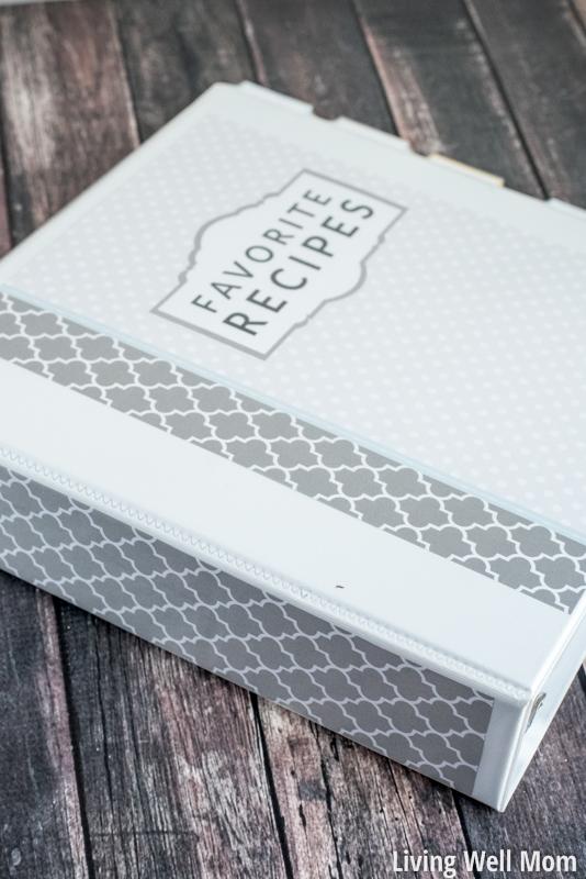 Grey and white recipe binder organizing paperwork