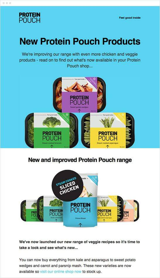 new Protein Pouch Products launch email announcement